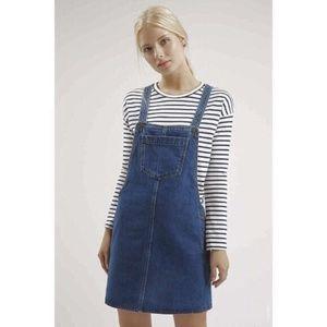 Topshop Blue Denim Overall Mini Dress Jumper 4